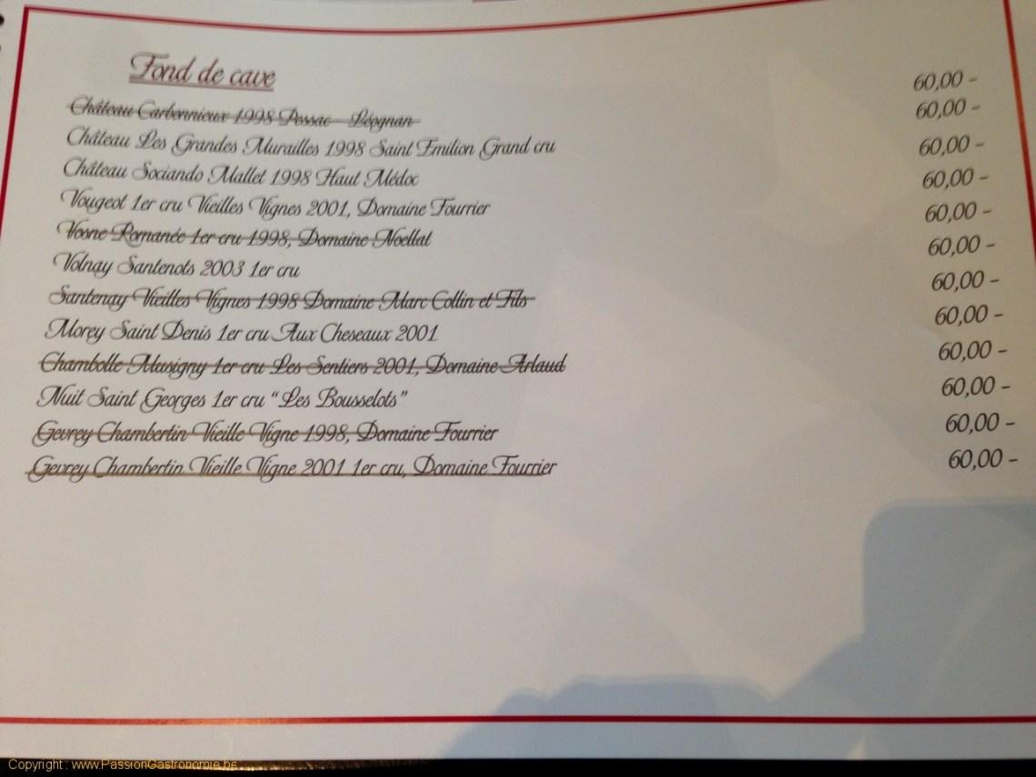 Restaurant Le Val d'Heure - Carte des vins - Fonds de cave