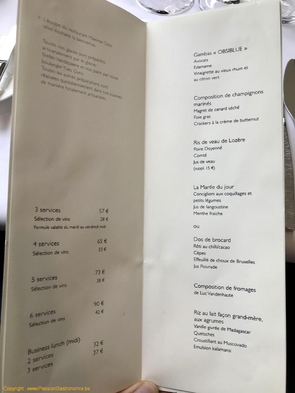 Restaurant Maxime Colin - Le menu