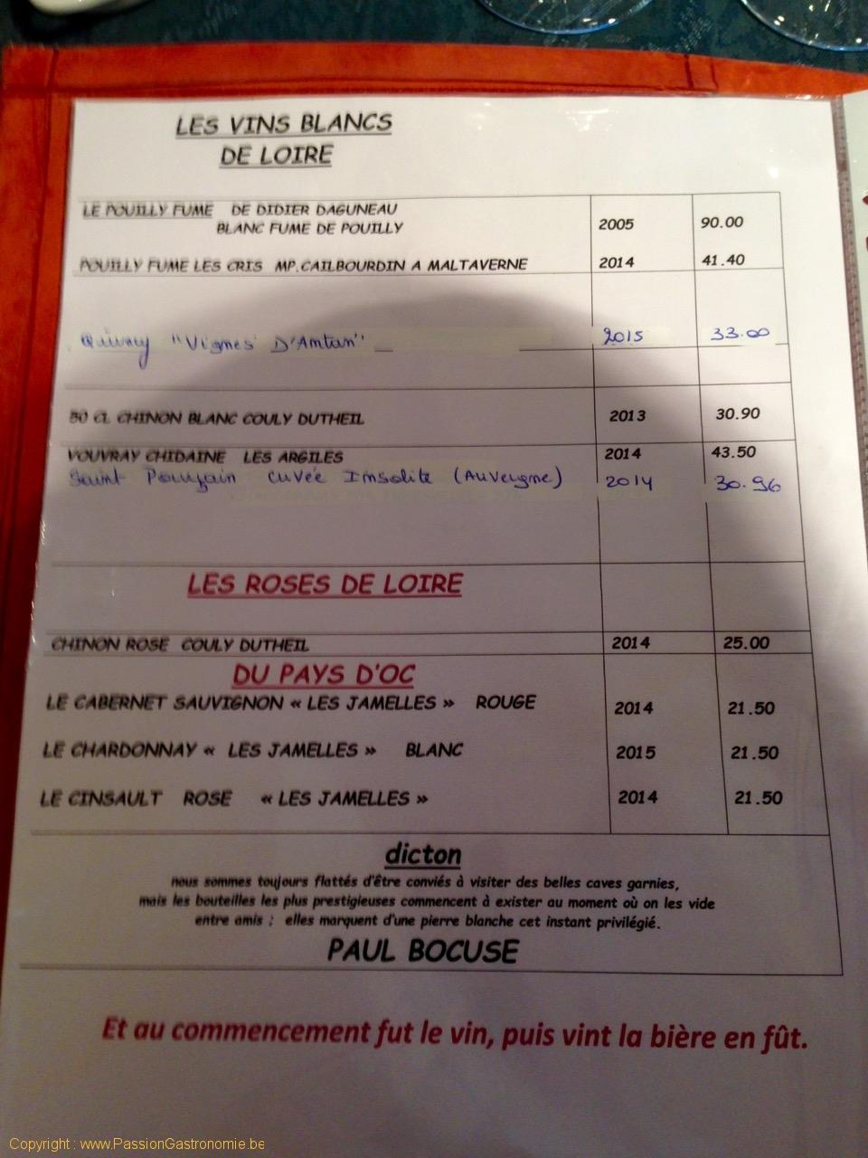 Restaurant Les Embruns - Carte des vins