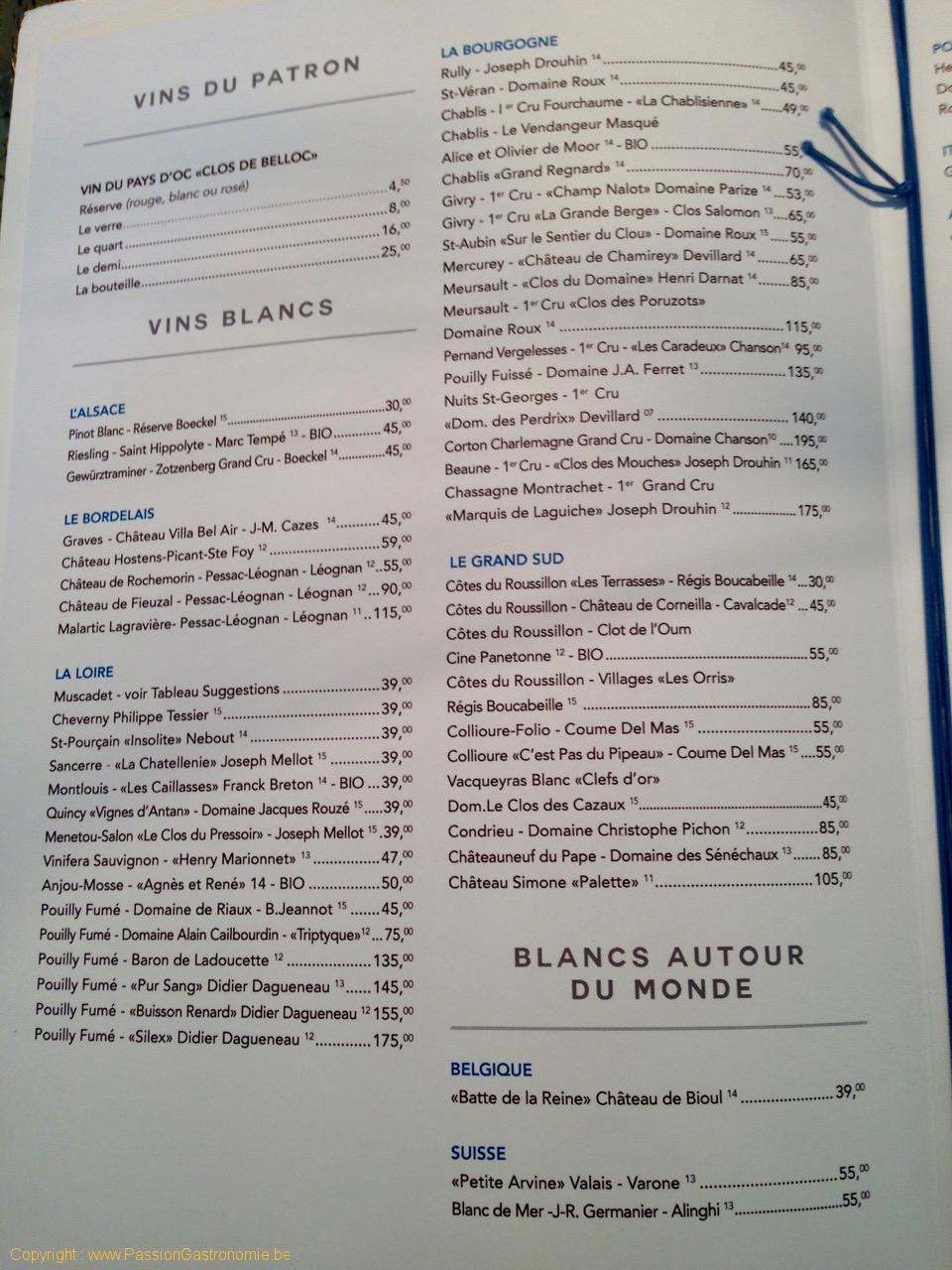 Brasserie Toucan Sur Mer - Les vins blancs