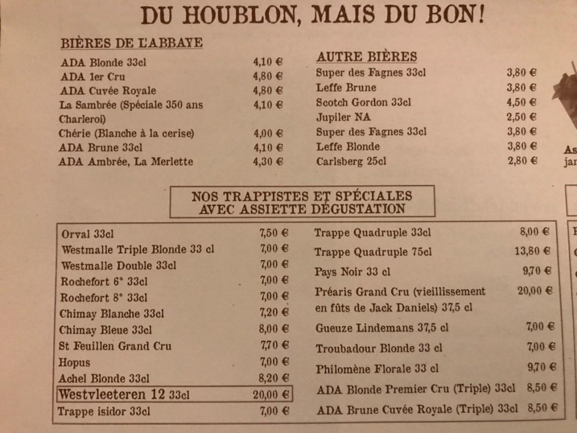 Restaurant Les caves de l'abbaye d'Aulne - Les bières