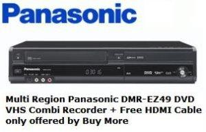 Multi région Panasonic Dmr-ez49vebk DVD Enregistreur VHS Combi + Free Plaqué or câble HDMI uniquement offertes par Achetez Plus