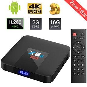 2018 TV Box Android 7.1 2GB/16GB X8T MAX eMMC Quad core ARM Cortex-A53 Wi-Fi 802.11b/g/n 2.4G Android TV Box