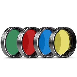 Neewer 4 pièces 2 pouces Filtre de Couleur Standard pour Télescope Oculaire: Rouge Jaune Vert Bleu, Idéal pour Observation Lunaire et Planétaire