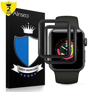 Apple Watch 42mm films protecteurs Serial2/3[2pcs], Alinsea Verre Film de protection [HD 9H dureté] Super Abrasion Dur Scratch résistant non trempé en verre trempé