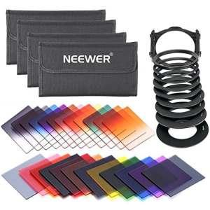 Neewer 24pièces Kit de filtre carré pour Cokin série P: (16) complet et gradué filtres de couleur + (4) Full filtres ND (ND2, ND4, ND8, ND16) + (3) dégradé ND filtres (G. ND2, G. ND4, G. ND8) + (1) filtre de coucher de soleil