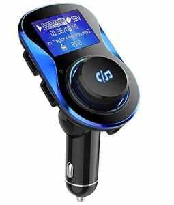 Transmetteur FM Bluetooth VPROOF [180° Rotation] Kit Main Libre Voiture Sans Fil Chargeur Voiture avec Dual Ports USB 5V/2.1A & 1A, Écran LCD 1,4 Pouces, Port Audio 3,5mm, Support Carte TF et Clé USB (Noir)