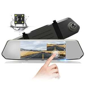 TOGUARD Retroviseur Dash Cam Caméra de Voiture Caméra de recul 1080P Full HD Écran IPS 7 pouces Grand Angle 170°Double Lentille