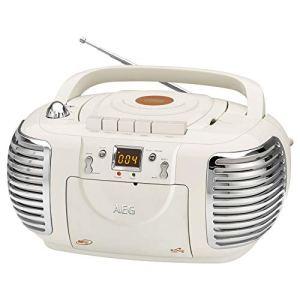 Radio stéréo rétro AEG – NSR – 4377 – avec Lecteur CD, MP3 et USB et Lecteur de Cassettes Cassette stéréo au Look rétro avec CD/MP3/USB Ivoire