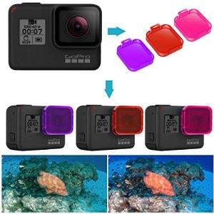 Neewer Lot de 3 Filtres de Plongée pour GoPro Hero 7/6/5 – Directement sur Objectif- Améliorer Couleur de Vidéo et Photo sous-Marines pour Snorkeling Plongée sous-Marine(Rouge/Rose/Magenta)