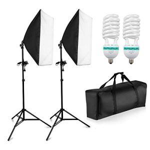 PHOTO MASTER Softbox Kit Eclairage Studio Photo 1250W 2 Soft Box 50x70cm Lumière Continue 5500K Photo de Mode Portrait Produits Commerciaux Packshot Vidéo