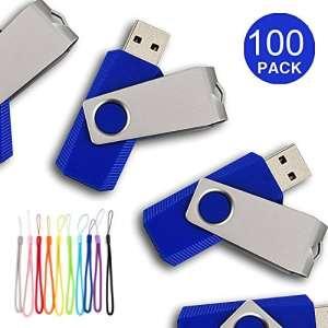 Yaxiny 100pcs USB Diks Clé USB à mémoire flash drive USB 2.0Mémoire disque Pen Drive 16 Go bleu