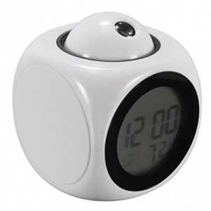CRYSNERY Réveil de Projection LCD Projection Snooze réveil numérique de Projection LCD avec Affichage de l'heure/de la température/Diffusion vocale/veilleuse Décoration de la Maison (White)