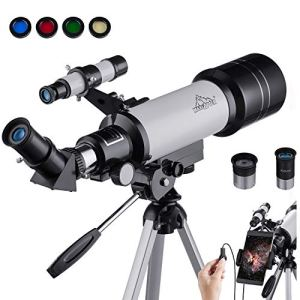 Maxlapter Télescope Astronomique Professionnel Réfracteur Adapté Aux Débutants Adultes ou Enfants 400/70mm Agrandissement HD Élevé à Portable et Équipé d'un Trépied Adaptateur pour Smartphone