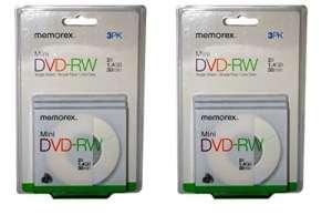 Mini DVD RW–Qté 6(2Packs de 3)