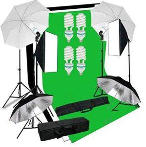 MVPOWER Softbox Kit Éclairage,2 Softbox 50x70cm,4x135W Ampoules Lumière,3 Toiles de Fond(Blanc/Noir/Vert),4parapluie(Blanc/Noir) pour Photographie de Portraits, Produit de Studio Photo et Vidéo