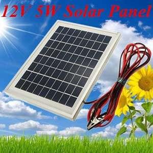 PhilMat 12V 5W 25.5 x 19 x 1.5 cm cellules polycristallines panneau solaire avec du fil de pince crocodile