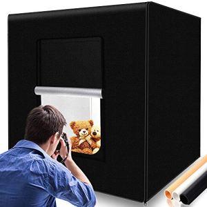 SAMTIAN Portable Photo Studio Tente de Lumière 32″x32 x32 / 80 * 80 * 80cm Photo Lumière Boîte Tente de la Prise de Vue avec 3 Feuilles de Fond (Noir, Blanc et Jaune) pour la Photographie