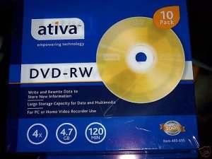 Ativatm DVD-RW Réinscriptible avec Jewel Cases Fin, 4.7Go/120Minutes, Doré, Lot de 10