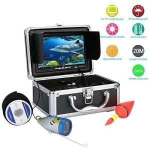 Mountainone 20m 1000tvl Underwater Pêche Caméra vidéo kit 12pcs lumières LED With7«pouce moniteur Couleur