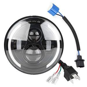Duokon 150W 7 pouces Voiture LED Ange oeil Lumière,Phares Ronds haut/bas Day Running Light DRL,Tour Signal lumineux