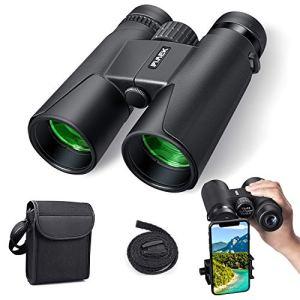 Jumelles pour Adultes, Jumelles compactes 10×42 HD avec Support de Smartphone pour l'observation des Oiseaux, Le Camping, la randonnée pédestre-BAK4 Prism FMC avec Jumelles à Sangle