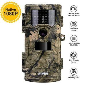 WiMiUS Caméra de Chasse, 20MP 1080P HD 0.2s Vitesse de Déclenchement avec Vision Nocturne 70ft, 3 PIR et 940nm 42pcs LED Infrarouge, 2.4» LCD IP54 Étanche Appareil Photo Chasse Trail Camera Animaux