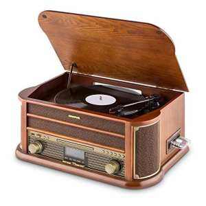 Auna Belle Epoque 1908 • Tourne-Disque rétro • Radio numérique • Chaîne stéréo • Dab+ • Platine Vinyle • Bluetooth • Lecture MP3 • Lecteur CD • Fonction RDS • Marron