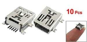Globalflashdeal 10 x Adaptateur/connecteur à souder Mini USB de 5 Broches Prise Femelle