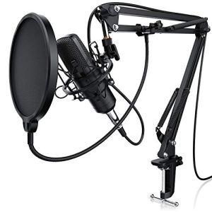 LIAM & DAAN – Microphone à condensateur + Support de Bras réglable + Suspension Antichoc + 1 Filtre Anti-Pop + 1 Filtre Anti-Vent | Microphone de Studio Phantom +48V | Câble XLR/Jack 3,5mm Inclus