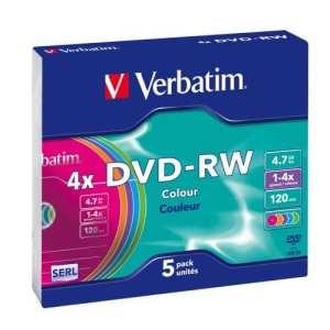 Verbatim 43563 DVD-RW Serl 4X Colour Surface 4,7 Go Slim Case de 5