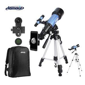 Aomekie Télescope Astronomique pour Adultes Enfant 70/400 Lunette Astronomique Portable avec Adaptateur Téléphonique 10X Sac à Dos Filtre de Lune Trépied Ajustable et Barlow 3X