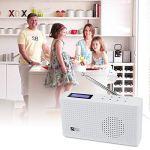 Ocean Digital Portable Radio Internet Wi-FI/Dab/Dab+/FM avec Récepteur Bluetooth, Haut-Parleur, Batterie Rechargeable Radio Compacte pour Le Cuisine Jardin – Blanc(WR26)