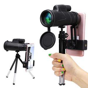 Wilbest Télescope Monoculaire, 12×50 Longue-Vue HD, Anti-dérapant BAK4 Prisme FMC Revêtement avec 1 Roue 1 Trépied 1 Adaptateur, pour Téléphone pour Randonnée, Camping, Observation des Oiseaux