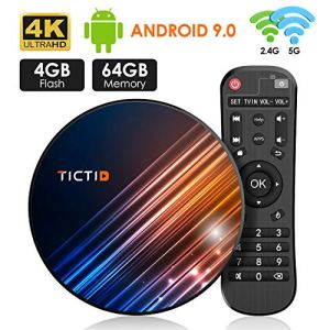 Android 9.0 Android TV Box 【4 GB + 64 GB】 TV Android Box BT 4.0 USB 3.0 Quad-Core RK3318 64 Bits, WiFi Double 2,4 G / 5 GHz, LAN 100M, 4K TV Box