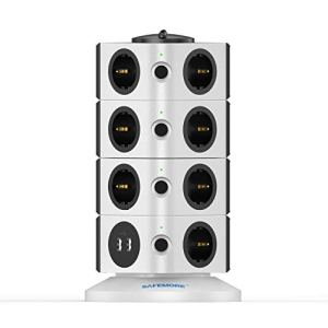 SAFEMORE Tour Multiprises,Prise Multiple avec 15 Prises de Recharge et 2 Ports USB (5V 2,4A), Interrupteur d'alimentation Adaptateur Douille, Porte Sécuritaire, 2500W/10A
