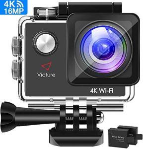 Victure Camera Sport 4K WiFi 16MP Appareil Photo Caméscope Étanche 30M Caméra Action à Écran LCD 2» avec 2 Batteries Rechargeable et Kit d'Accessoires