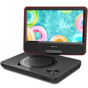 WONNIE 2019 Upgrade 11.5″ Lecteur DVD Portable avec écran Rotatif de 9,5″ à 270°, Inte Carte SD et Prise USB avec Batterie Rechargeable Formats/RMVB/AVI / MP3 / JPEG, Parfait pour Enfants (Rouge)