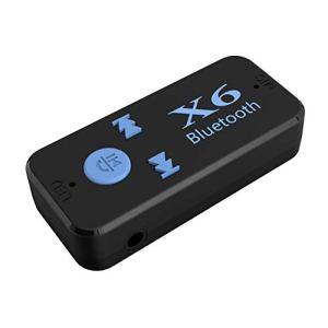 Adaptateur de récepteur de Musique Bluetooth X6 pour Voiture Jack 3,5 mm Kit Mains Libres sans Fil pour Voiture avec Lecteur de Carte TF Fonction Noir