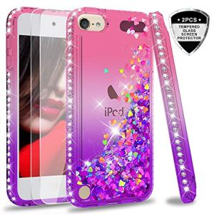LeYi Coque pour iPod Touch 7th 5th 6th Etui avec Verre Trempé [Lot de 2], Liquide Paillette Transparente 3D TPU Gel Silicone Antichoc Kawaii Diamant Étui pour iPod Touch 5th 6th 7thRose Violet
