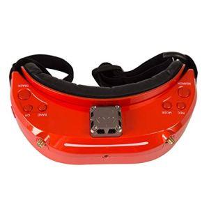 MachinYesell SKYZONE SKY03S Lunettes FPV Diversity 5.8GHz 48CH avec Ventilateur Prise en Charge de la caméra Frontale DVR Suivi de la tête HDMI pour Drone métallique Flamme Orange