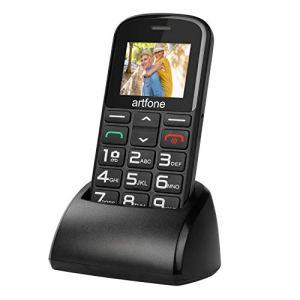 Artfone GSM Téléphone Portable Senior Débloqué avec Grandes Touches, Bouton SOS Dual-SIM, Appareil Photo, Lampe Torche et Station de Charge