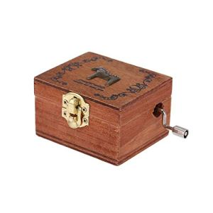 Boîte à musique classique Vintage décorations pour la maison 1pcs Carré classique en bois à manivelle exquise boîte à musique rétro GiftsMG-216C (bois)