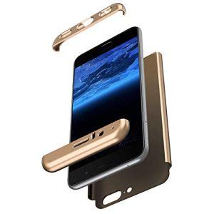 Hpory Compatible avec OnePlus 5 Coque Dure Ultra Mince Housse Étui en PC Matériel Cover Case Rigide Étui Antichoc Résistant aux Rayures Slim 3 en 1 Dur Case,d'or