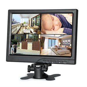 Koolertron 10.1″ Moniteur CCTV 1280*800 IPS Écran LCD avec HDMI/VGA/AV Port Support 1080P pour DSLR/PC/ Caméra de Vidéosurveillance/DVD/Voiture/ Domicile Bureau Système de Sécurité de Surveillance