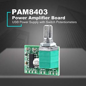 Momorain Mini PAM8403 DC 5V 2 Canal USB Alimentation HiFi Digital Audio Amplifier Board avec Switch Potentionmeter