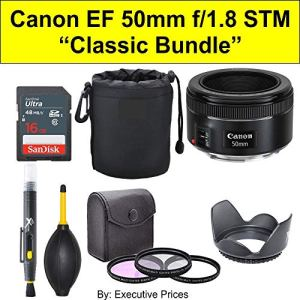 Classic Bundle Canon EF 50mm f/1.8 STM Lens + Accessories Bundle