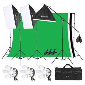 Andoer Softbox Kit Studio Photo Studio Studio de Studio avec 12 Ampoules 45 W + 3 Douilles de Lampe 4 en 1 + 3 x Softbox + 3 x Stand Lumineux + 3 x Dessous en Tissu Non-tissé + 1 x Sac de Transport