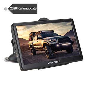 Aonerex système de navigation GPS multilingue pour voiture camion avec écran résistif 7″ 8 Go/256 Mo 52 cartes pour Europe et Royaume-Uni avec mises à jour à vie (Français non garanti)