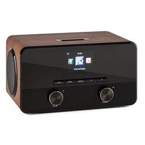 AUNA Connect 100 – Radio Internet, Lecteur réseau, WiFi, Interface Bluetooth, Port USB, Entrée AUX, Compatible MP3, Ecran Couleur, Noyer